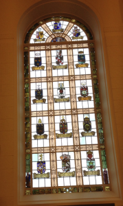 stained glass windows depicting each Province and individual lodge who helped to finance the building of the school